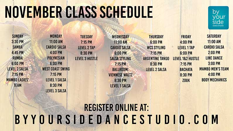 November Dance Class Schedule